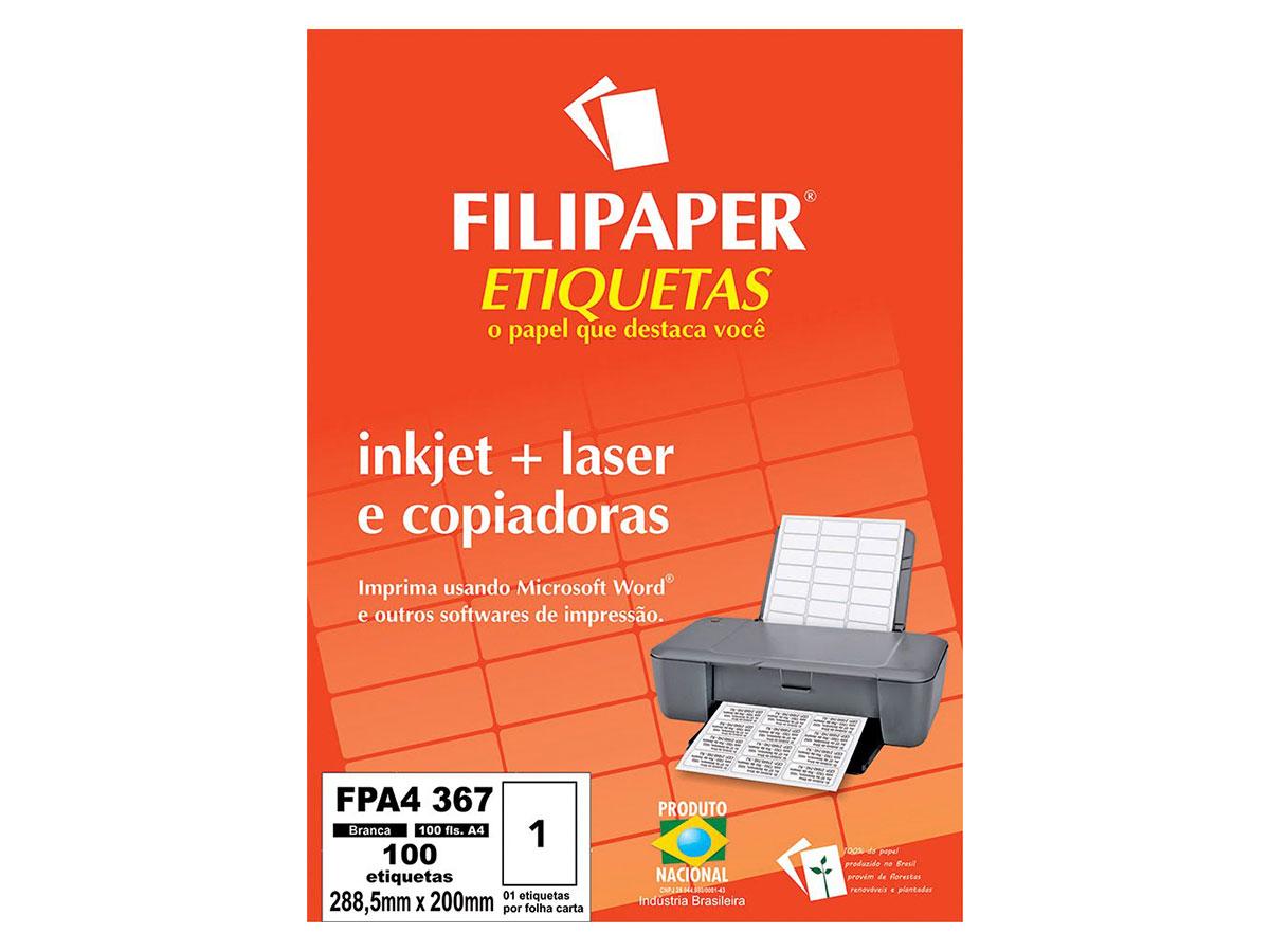 Etiqueta Inkjet+Laser FPA4 367, 288,5x200mm, 1 ETIQ. POR FL./ 100 ETIQ./ 100 FL./ Filipaper 04448