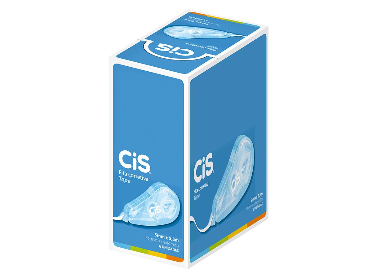 Fita Corretiva Tape, 5 mm x 5,5 m, Caixa Com 6 Unidades, Cis - 42003