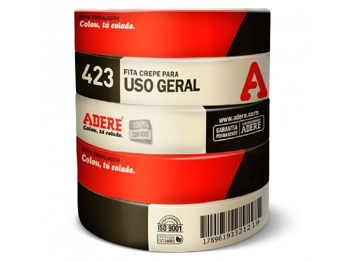 Fita Crepe para Uso Geral 423, 38mm x 50m, Pacote C/ 6 Unidades, Adere