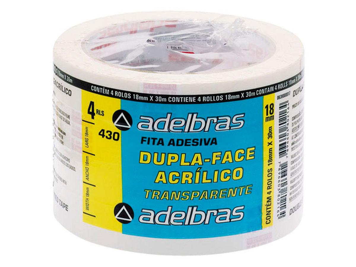 Fita Dupla Face Transparente Acrílico, 18 mm x 30 m, Adelbras - 430