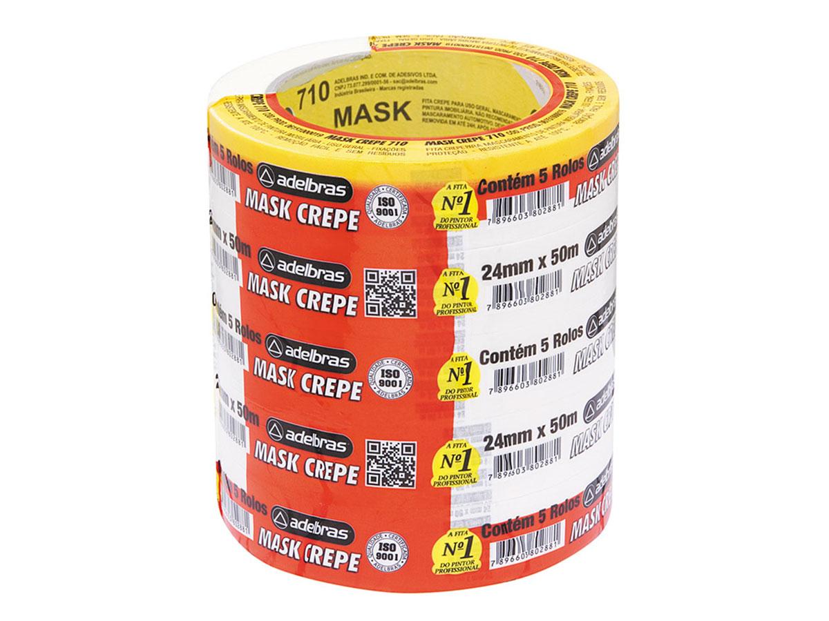 Fita Mask Crepe, 24 mm x 50 m, Contém 05 Rolos, Adelbras - 710