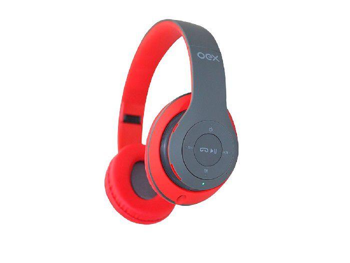 Fone Bluetooth C/Rádio Fm Loud Dobrável Oex Cinza/Vermelho HS304