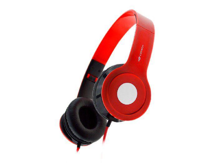 Fone C/microfone C3tech PH-100RD Dobrável Vermelho