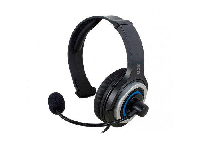Fone C/microfone Gamer Oex Army P/ps4/pc/mac Preto/azul HS407