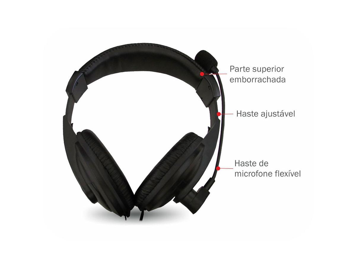 Fone C/ Microfone K-Mex ARS-7500 Preto
