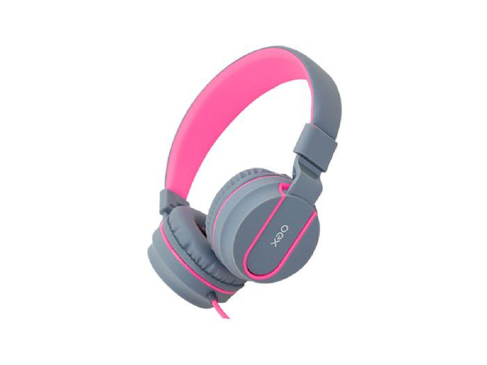 Fone C/microfone Neon P2 Dobrável Oex Cabo Trançado Cinza/rosa HS106