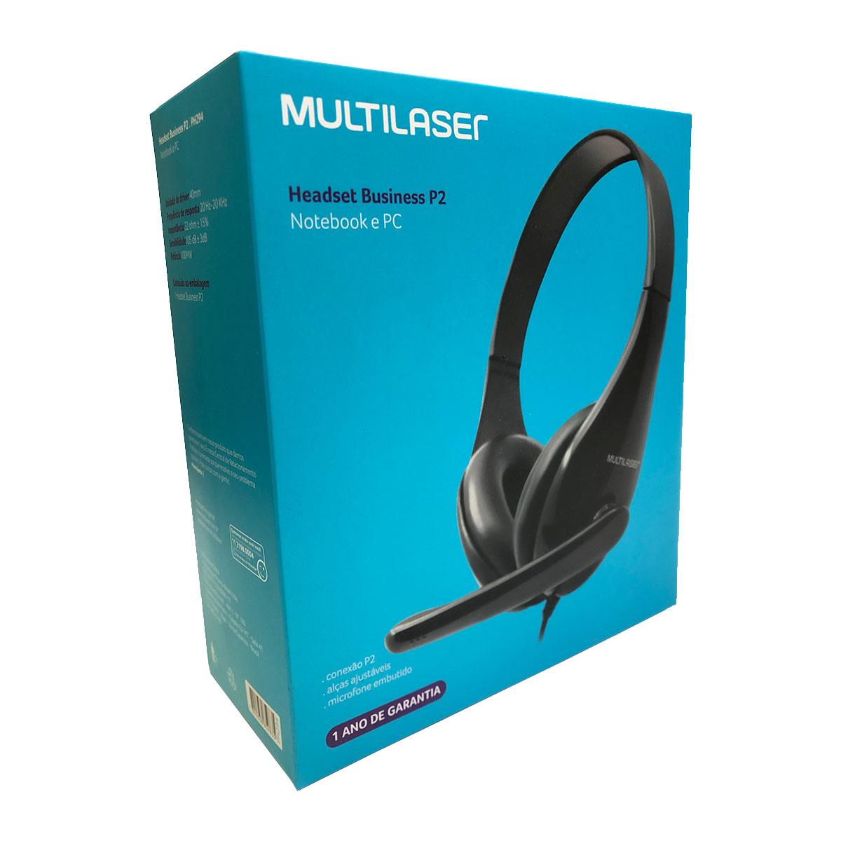 Fone com Microfone Business Multilaser PH294, P2, Preto