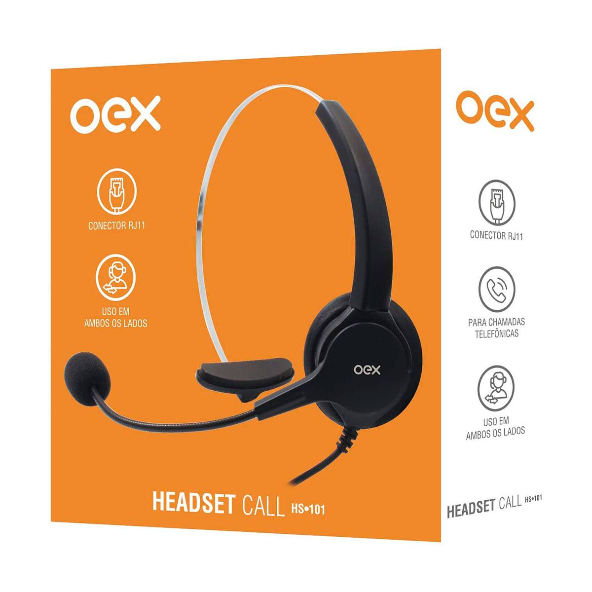 Fone com Microfone OEX Call HS101 Conector RJ11, Conformidade com a NR17, Ajustável - Preto