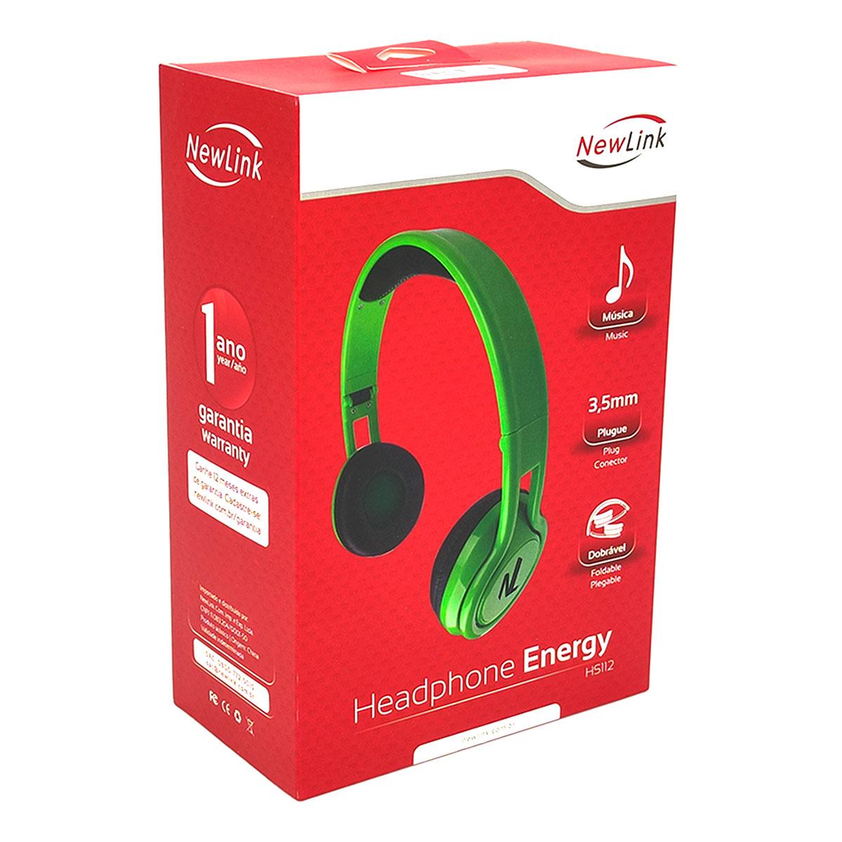 Fone de Ouvido NewLink Energy HS112, P2 3.5mm, Dobrável, Verde