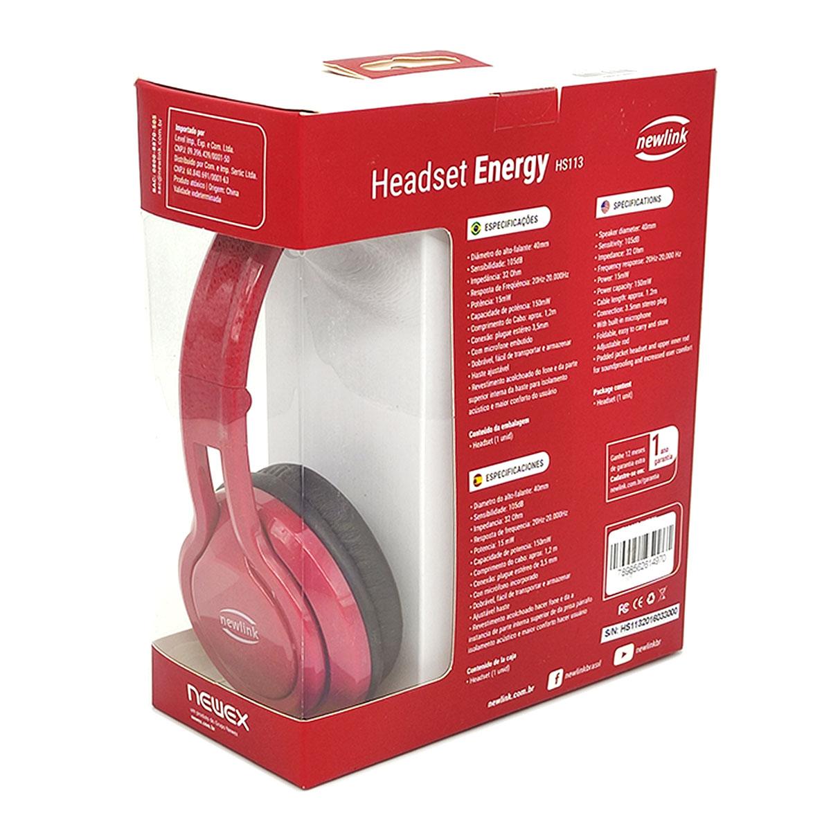 Fone de Ouvido NewLink Energy HS113, P2 3.5mm, Dobrável, Vermelho