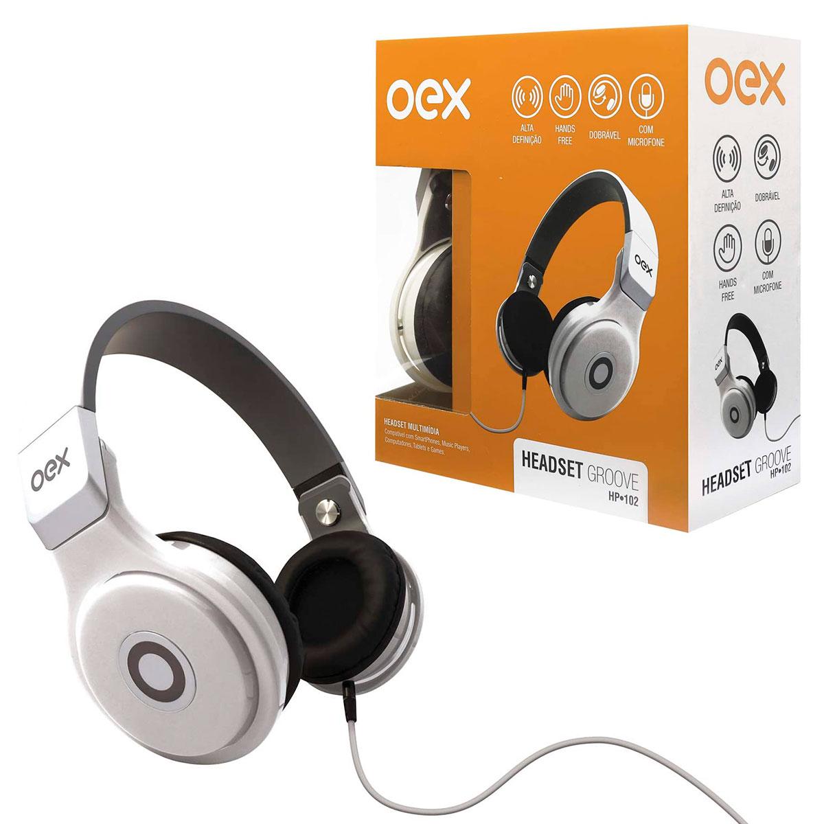 Fone de Ouvido OEX Groove HP102, P2 de 3.5mm, Branco - Dobrável, C/ Microfone
