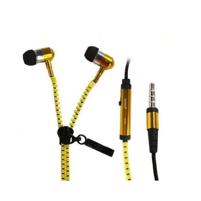 Fone Intra Auricular com  Mic Plug P3 Ziper - Amarelo FN.410