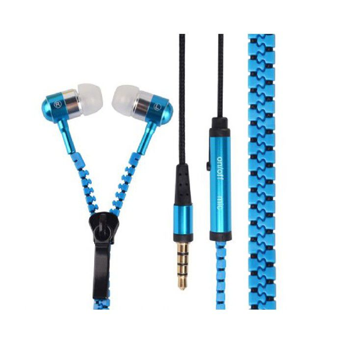 Fone Intra Auricular com Mic Plug P3 Ziper Azul FN.422