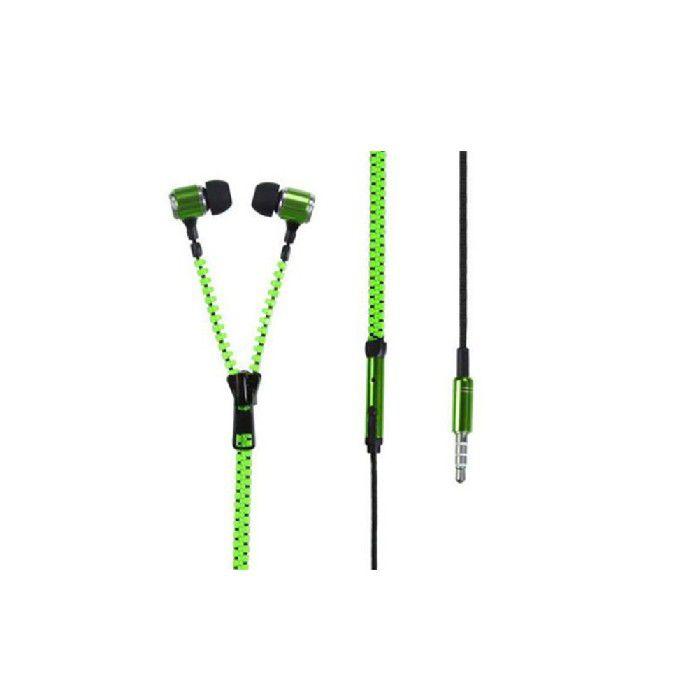 Fone Intra Auricular com Mic Plug P3 Ziper Verde FN.409