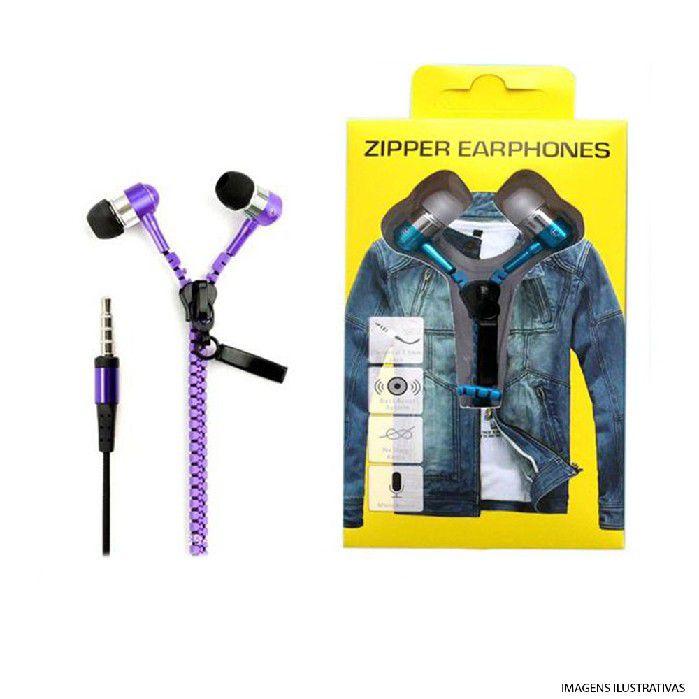 Fone Intra Auricular com Mic Plug P3 Ziper Vermelho  FN.425
