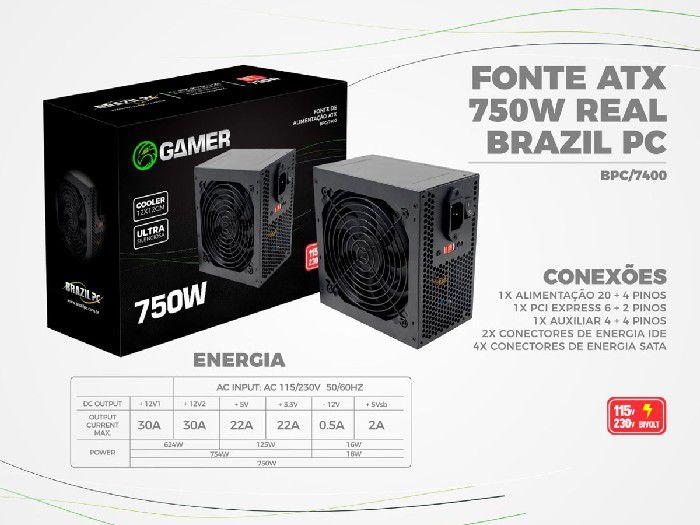 Fonte Alimentação Atx BPC 750w Real BPC/7400 24-Pinos C/Caixa+Cabo