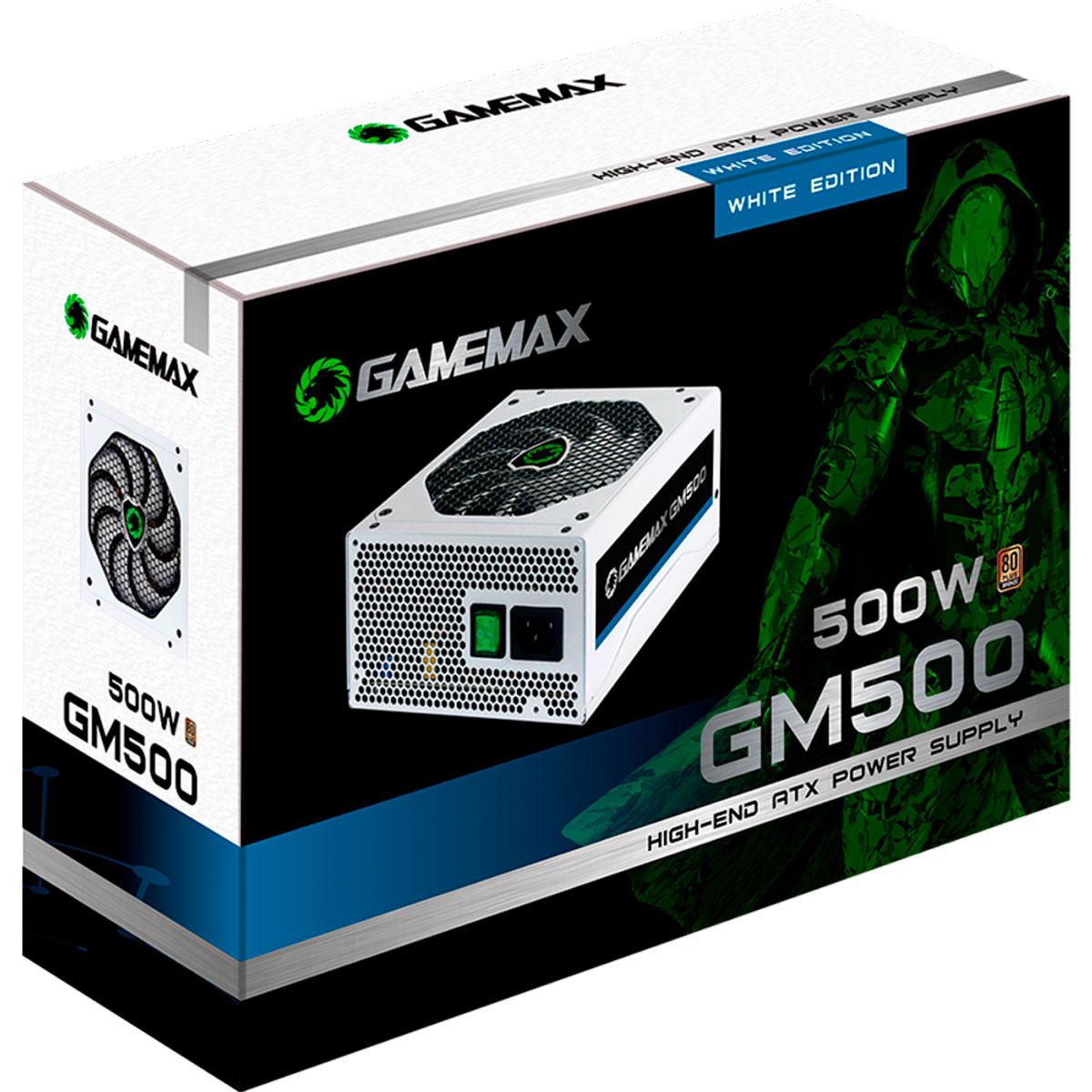 Fonte Alimentação Gamer ATX Gamemax 500W Real GM500 80 Plus Bronze Branca