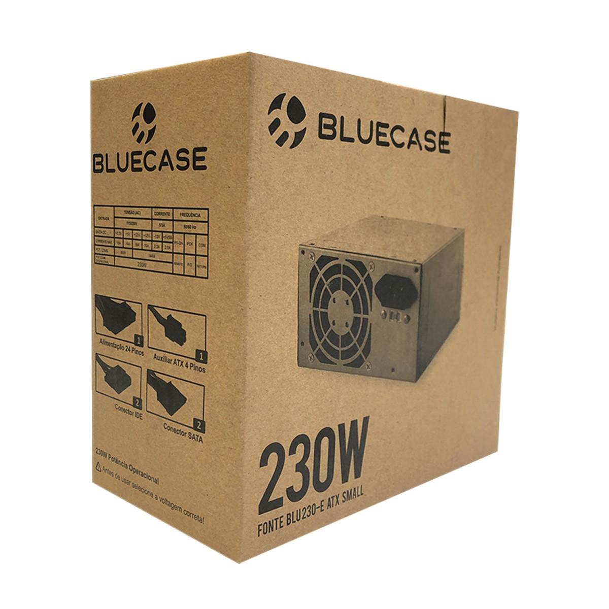Fonte ATX Bluecase BLU230-E 230W, C/ Caixa e Cabo de Energia