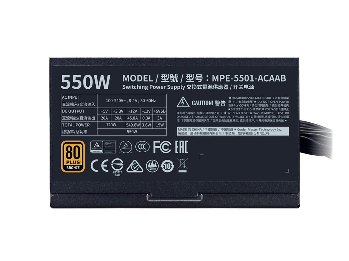 Fonte ATX Cooler Master MWE White 550W MPE-5501-ACAAB-BR
