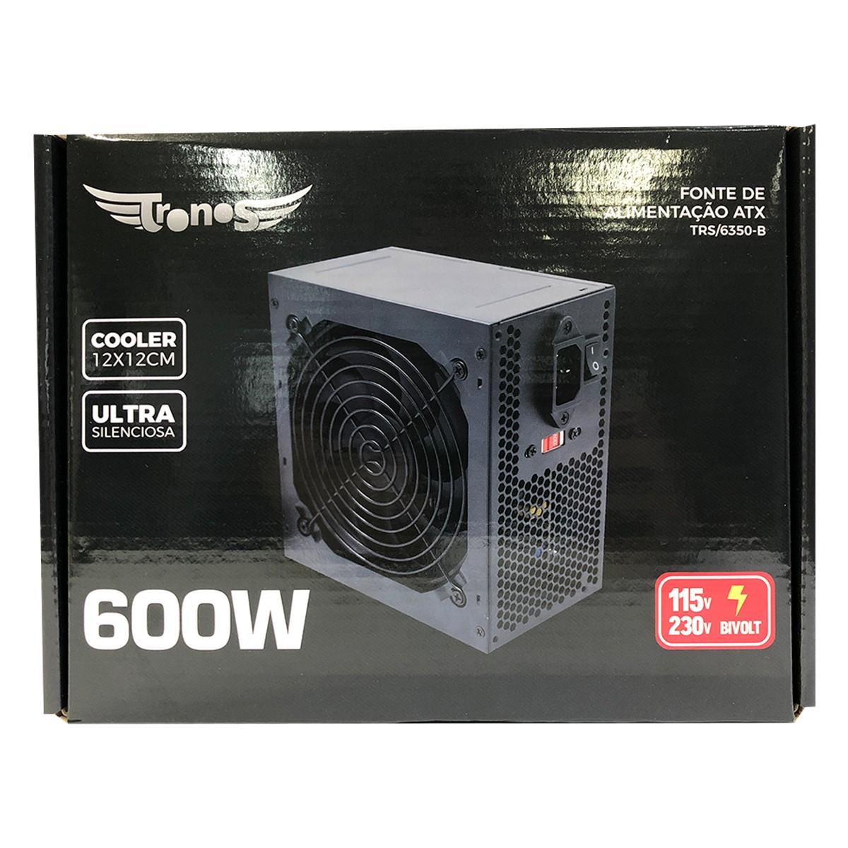 Fonte ATX Tronos TN/6350-B 600W Real Bivolt