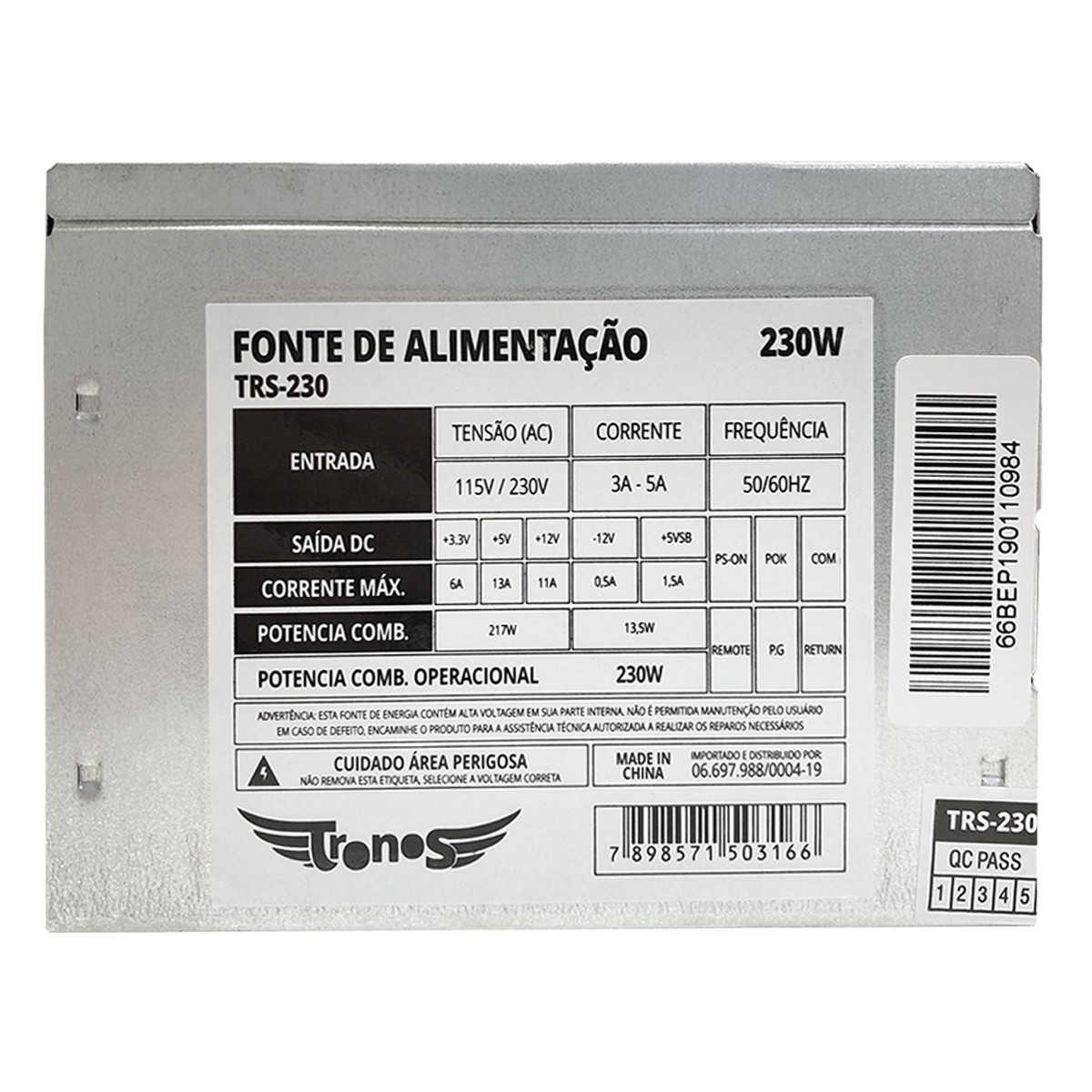 Fonte ATX Tronos TRS-230, 230W, 24 Pinos, S/Cabo, OEM