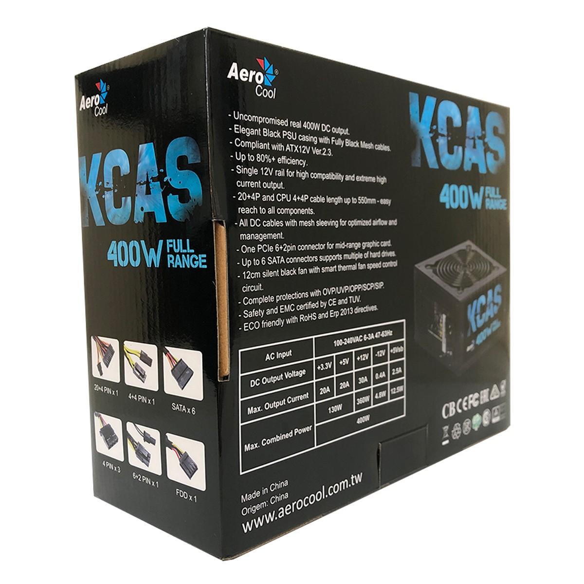Fonte Gamer Aerocool KCAS 400W 80 Plus White Full Range PFC Ativo