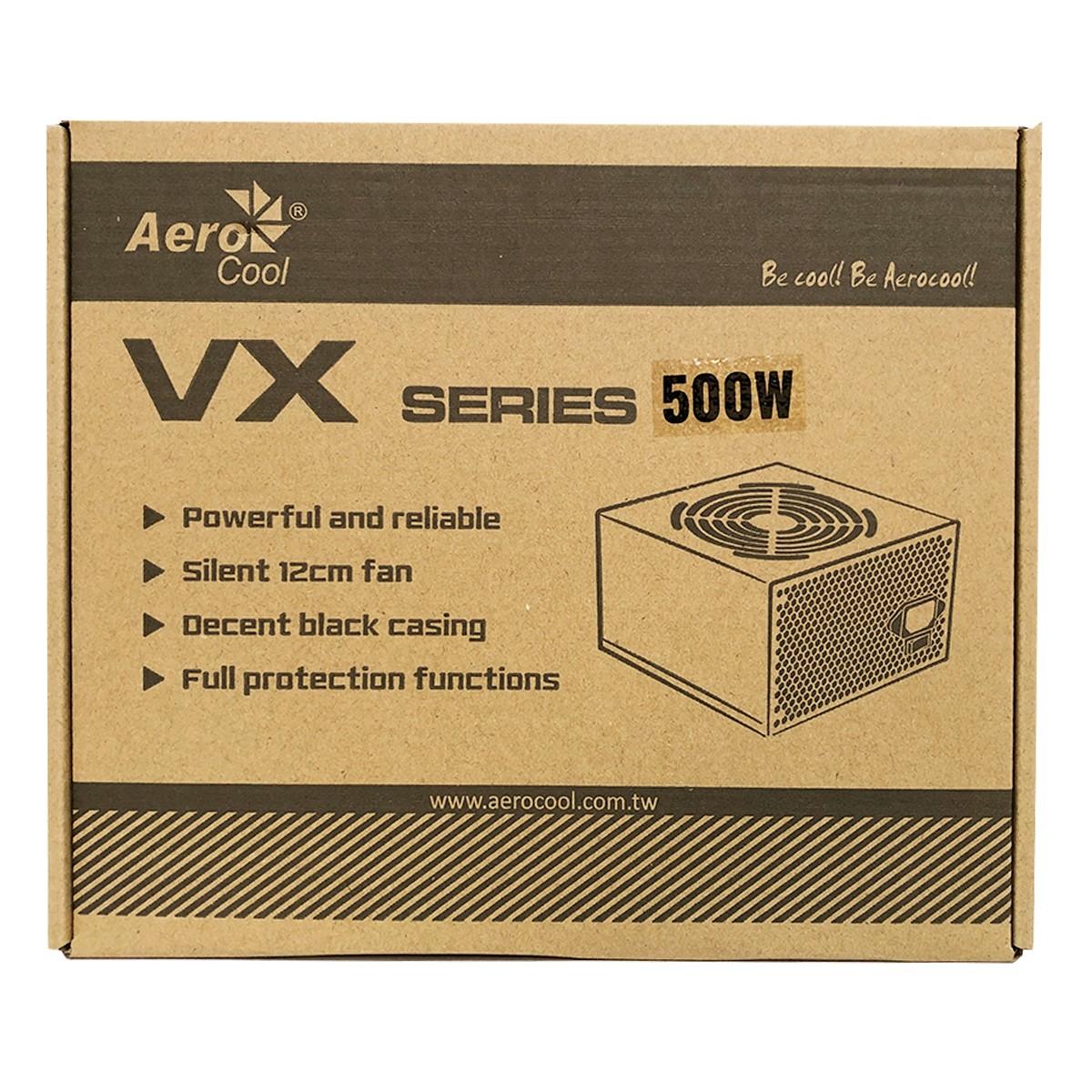 Fonte Gamer ATX Aerocool 500W VX-500 Bivolt Chaveada C/ Caixa