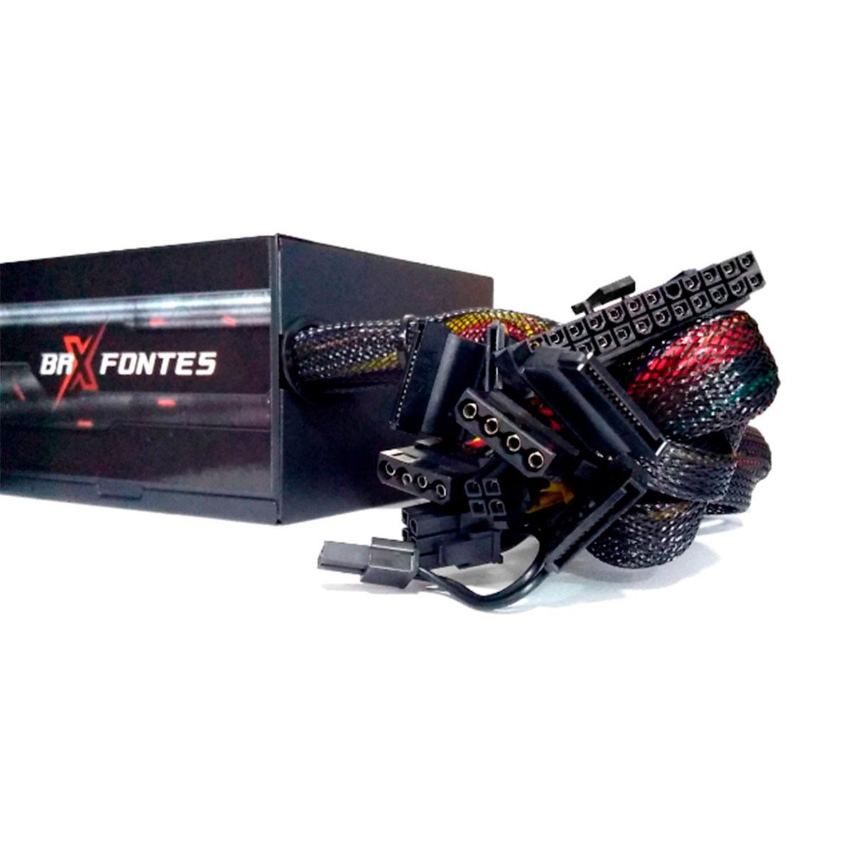 Fonte Gamer ATX BRX B-S850W, 850W Real, Cooler120mm, Bivolt Chaveada