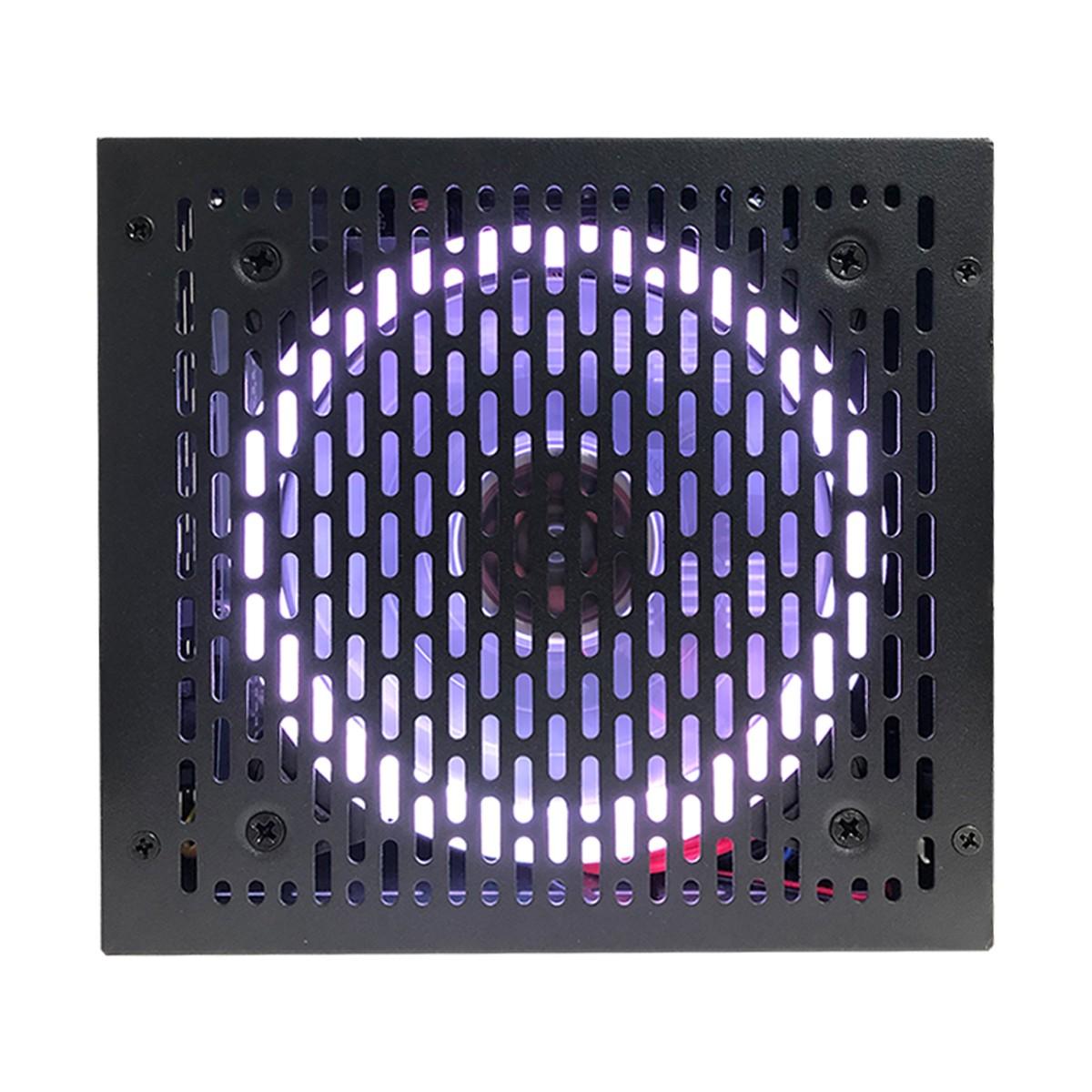 Fonte Gamer ATX BRX Rainbow 500W Real, 80 Plus Bronze, Cooler120mm RGB, Bivolt Automático