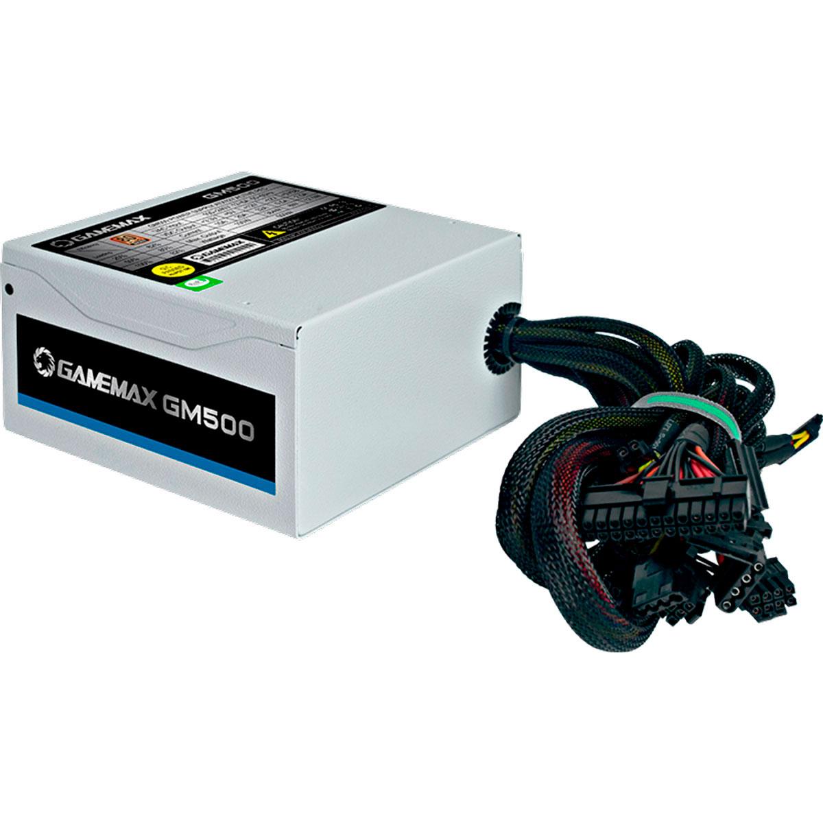 Fonte Gamer ATX Gamemax GM500 500W 80 Plus Bronze PFC Ativo Branca OEM