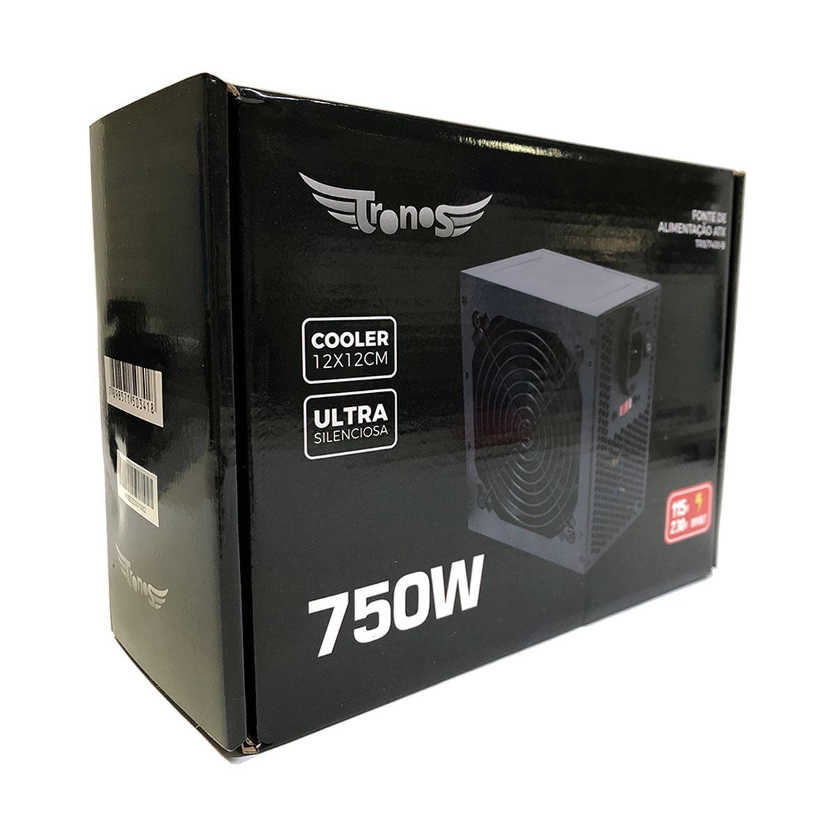 Fonte Gamer ATX Tronos TN/7400-B, 750W, Bivolt, 24 Pinos