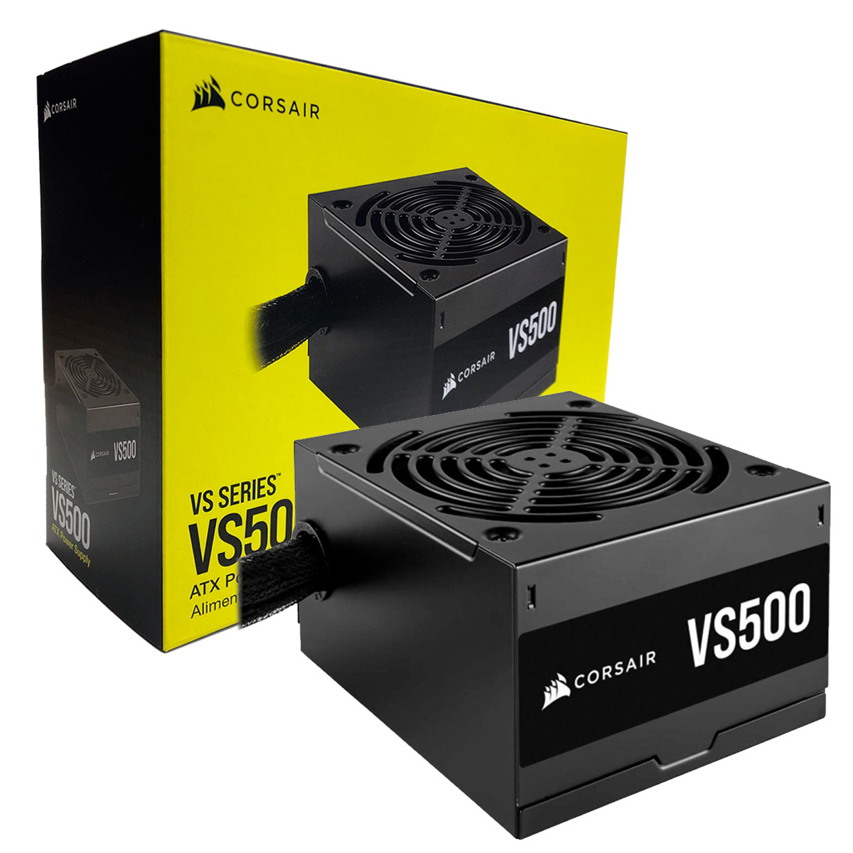Fonte Gamer Corsair VS500, 500W, 80 Plus White, PFC Ativo, Bivolt - CP-9020223-BR