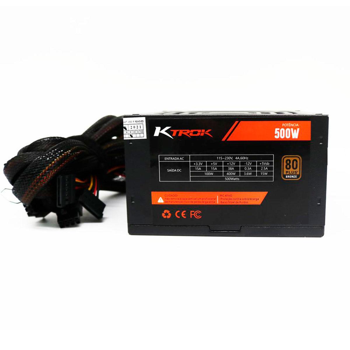 Fonte Gamer KTROK KT-FT-RGB, 500W 80 Plus Bronze, PFC Ativo, RGB, Bivolt Automático