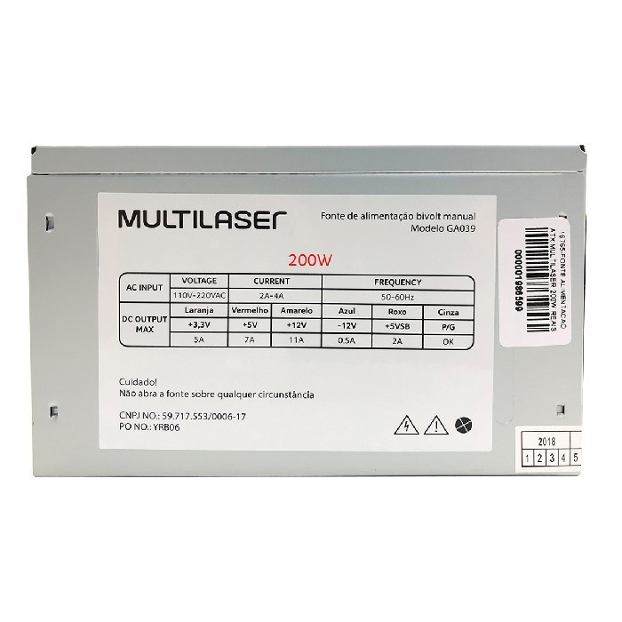 Fonte Multilaser GA039, 200W Real, Bivolt Manual