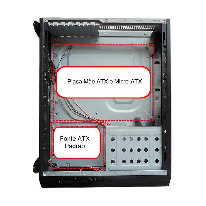 Gabinete Casemall Slim Atx S103-s Prata Case Rede S/fonte