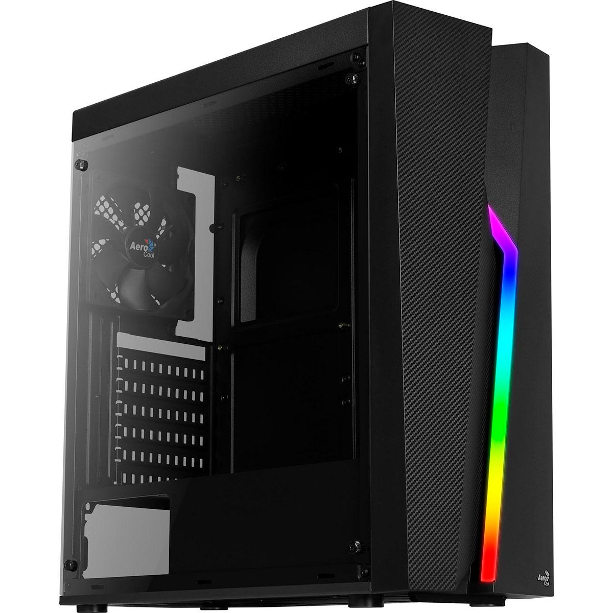 Gabinete Gamer Aerocool RGB Bolt Acrílico, ATX, Com FAN, Lateral em Acrílico,  Preto