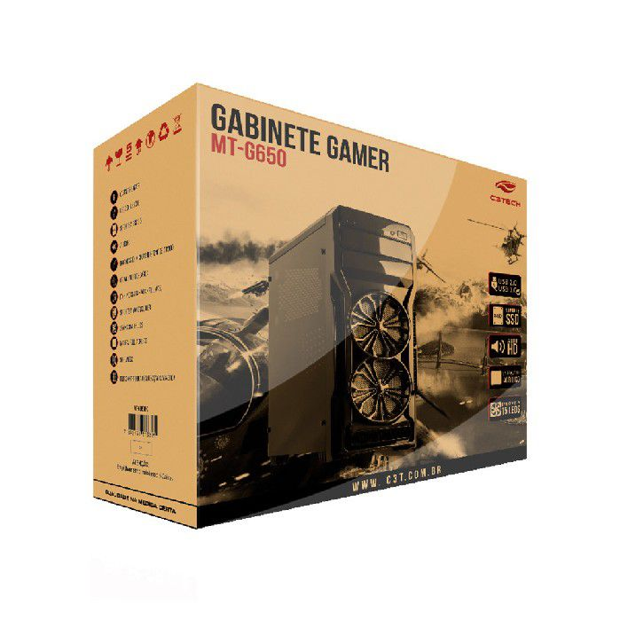 Gabinete Gamer C3tech MT-G650BK S/ Fonte