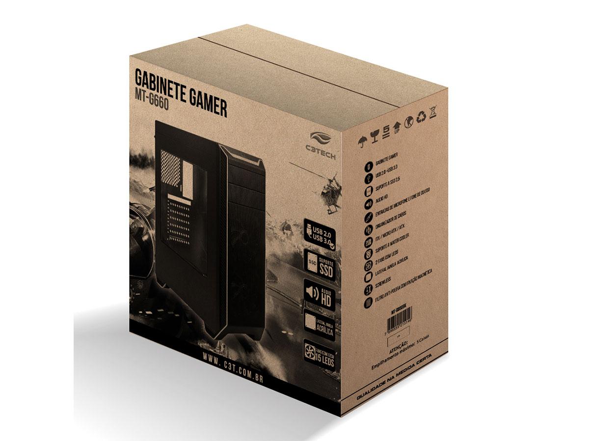 Gabinete Gamer C3tech MT-G660BK, USB3.0, Sem Fonte, Cooler Led Vermelho