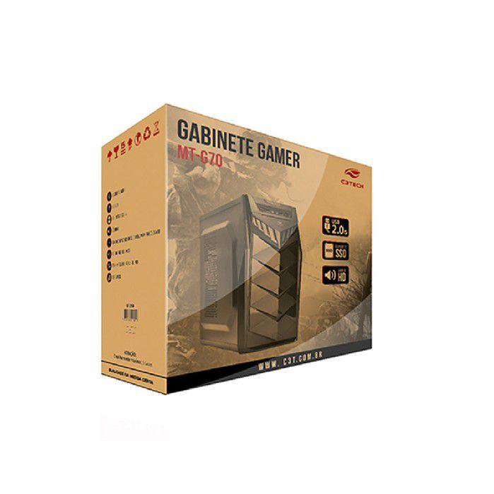 Gabinete Gamer C3TECH MT-G70 BK S/FTE