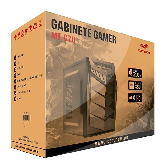 Gabinete Gamer C3Tech MT-G70 BK, Sem Fonte