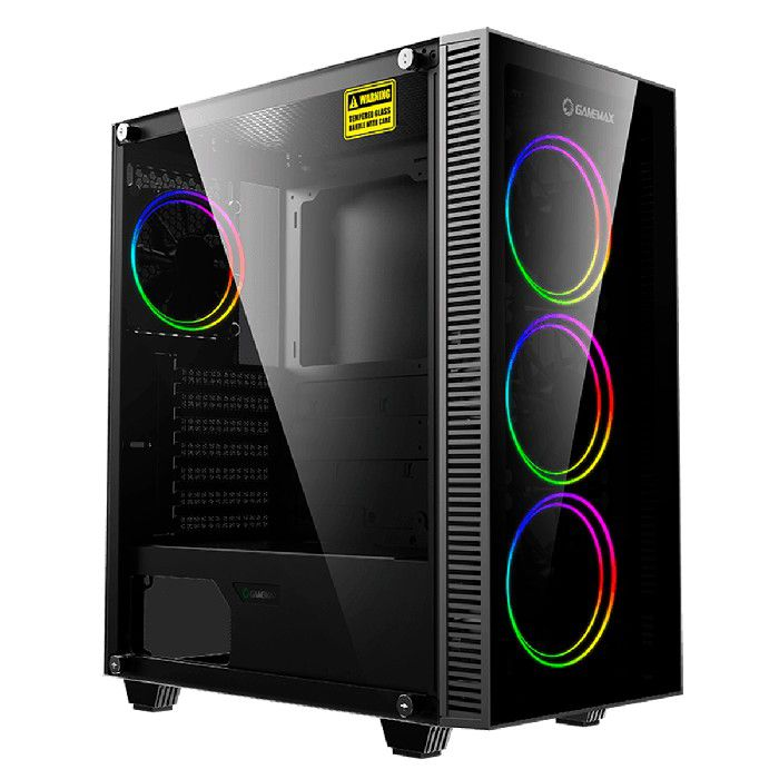 Gabinete Gamer Gamemax Draco XD 3663-BK 3 FANS C/ Anel Duplo ARGB GMX-12DBB Preto