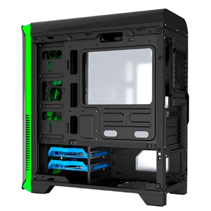 Gabinete Gamer Gamemax Hero H602-BG Preto e Verde LED Green