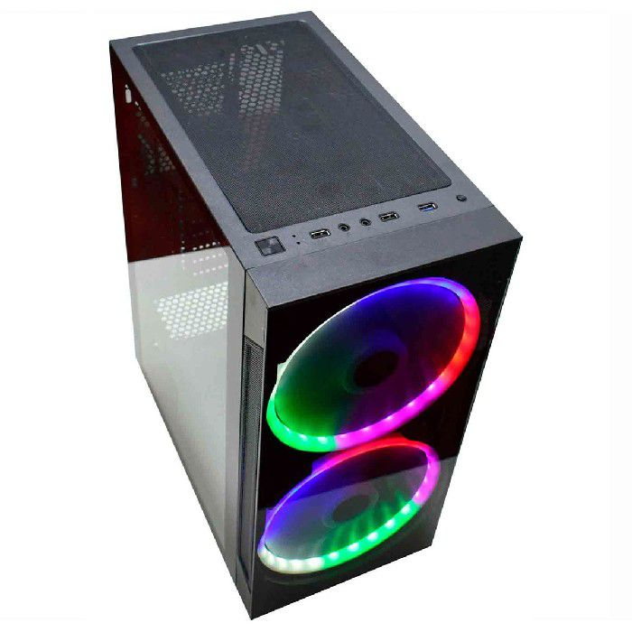Gabinete Gamer K-MEX Anjo de Combate Fan LED Multicolor CG01A1RH001CB0X
