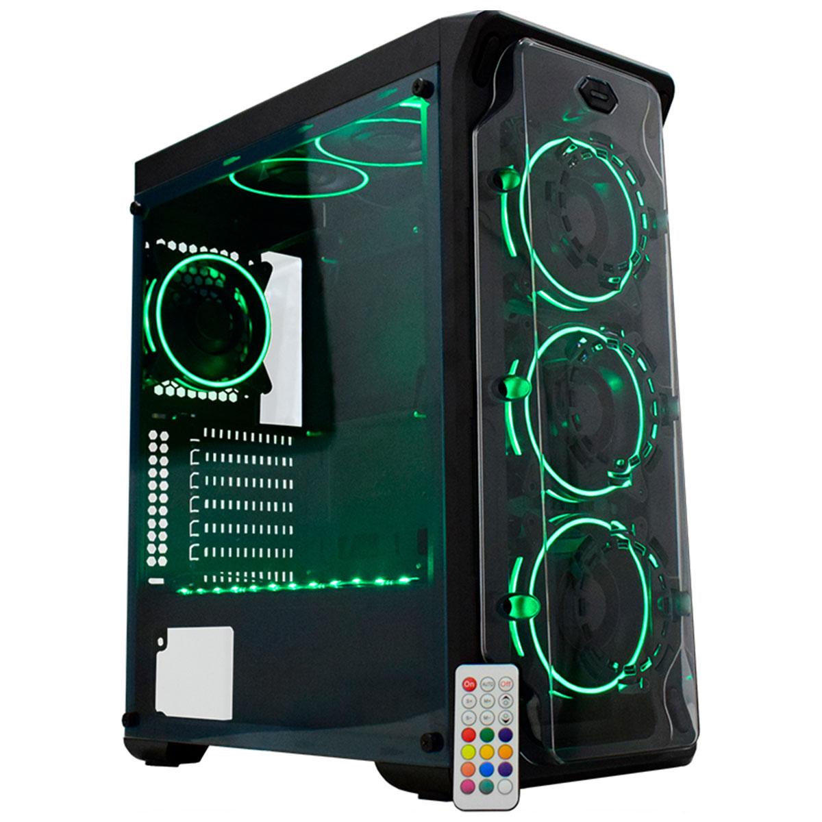 Gabinete Gamer K-MEX Dark Trooper CG-01B1 3 Fans RGB + Fita LED - CG01B1RH0010B0X - Preto