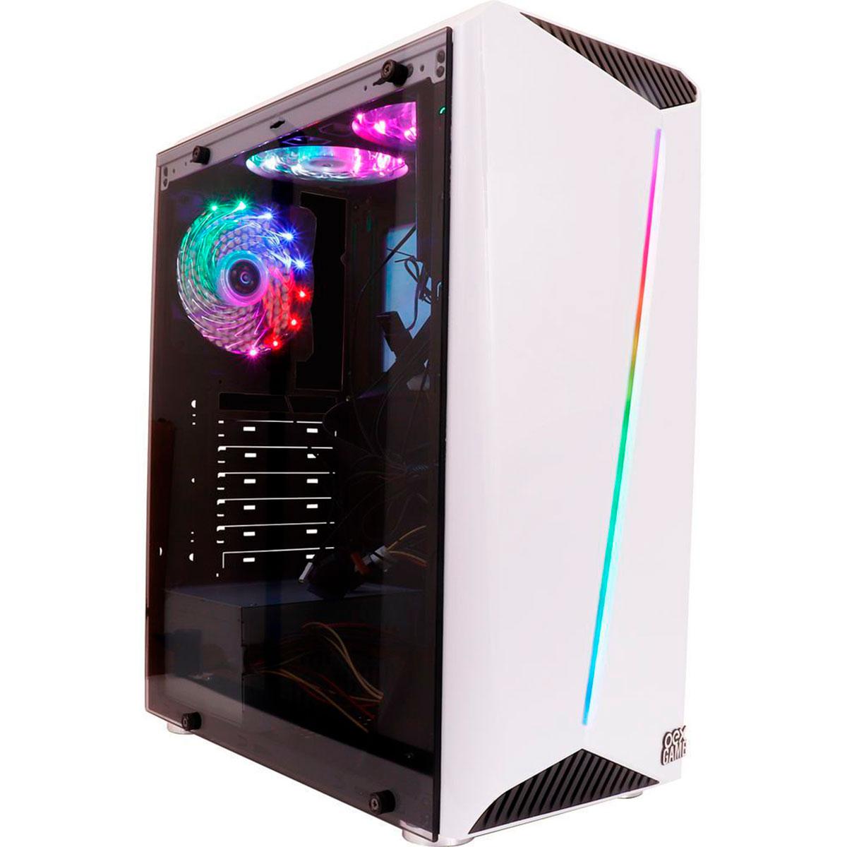 Gabinete Gamer Oex Shelter GH200 Branco 3 Coolers LED RGB