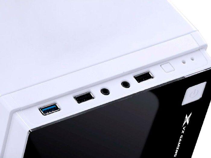 Gabinete Gamer Vinik Vx CRATER Branco C/ LED Azul 29832