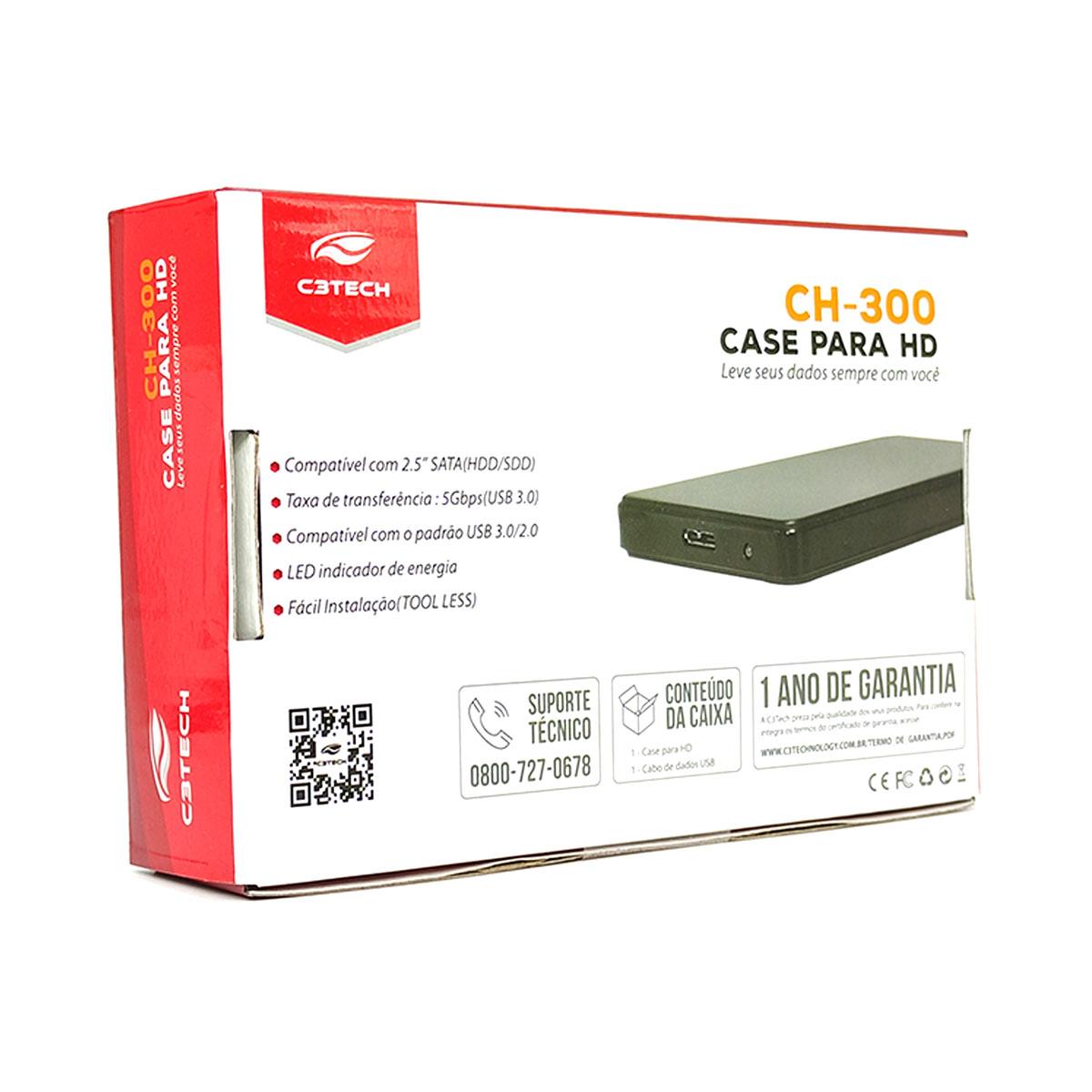 "Gaveta para HD Externo 2,5"" C3Tech CH-300BK, USB 3.0, Preto"