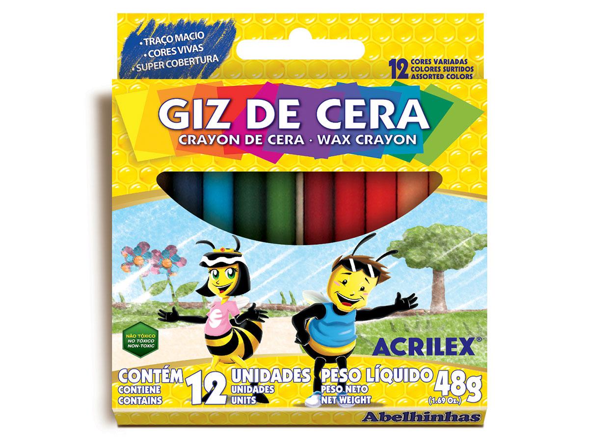 Giz de Cera, 12 Cores Sortidas, Pacote c/ 12 Caixinhas, Acrilex