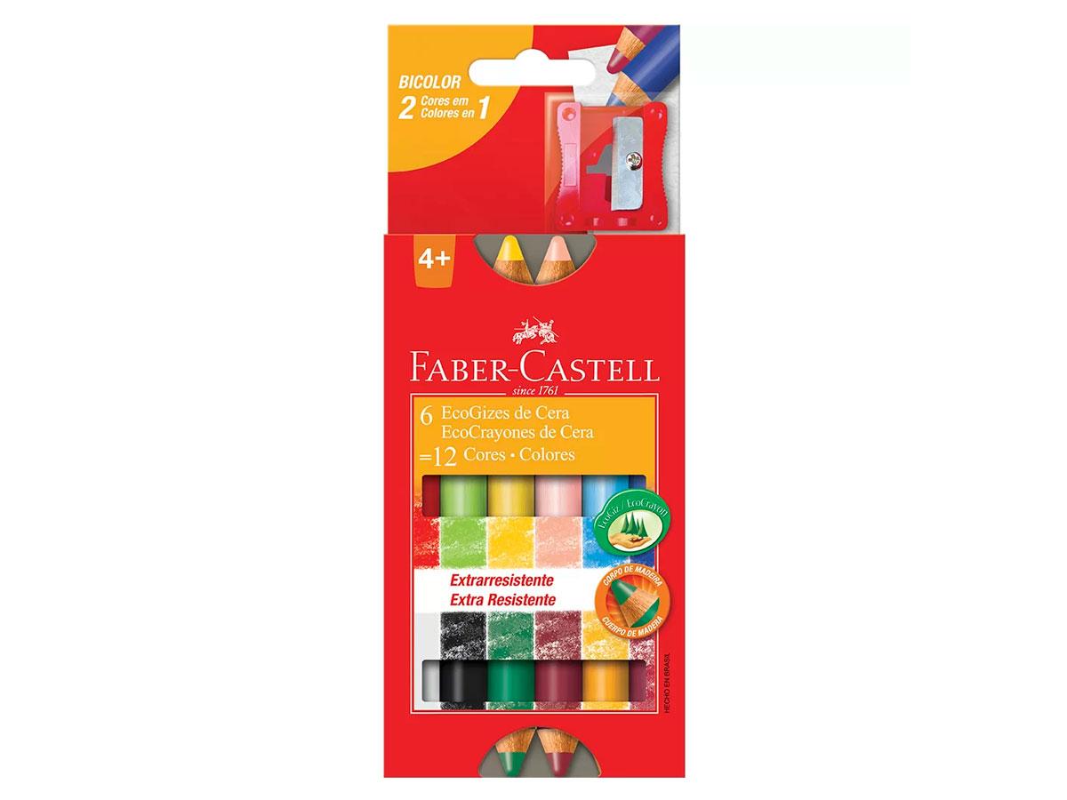 Giz de Cera Ecogiz Madeira 12 Cores, Pct. C/ 6 Caixinhas - Faber Castell - HT141412