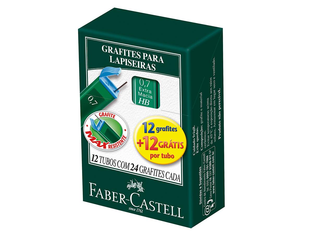 Grafite para Lapiseira 2B 0.7 mm, Caixa C/ 12 Unidades, Faber Castell - TMG072B